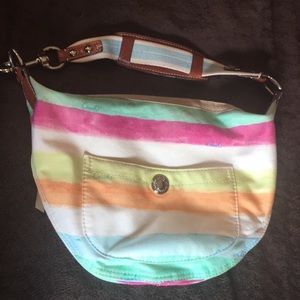 Watercolor stripe Coach bag